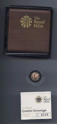 In Stock -  2012 Proof Gold Quarter (1/4) Sovereign - New Design - Now In Stock