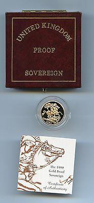 G.B. 1999 PROOF GOLD SOVEREIGN CASE + CERTIFICATE RARE 18th BIRTHDAY PRESENT