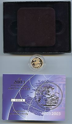 G.b. 2003 Proof Gold Sovereign Case + Certificate