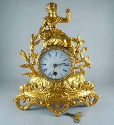 Antique French Gilt Figural 8 Day Mantel Clock