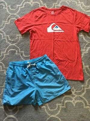 Men's Sz L Quiksilver Tee And Rip Curl Shorts