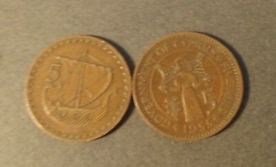 Cyprus 2X 5 Cent Coins 1955, 1963