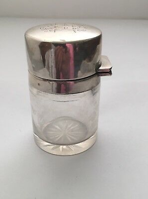 Antique Silver Topped Glass Scent Bottle, Birmingham 1908