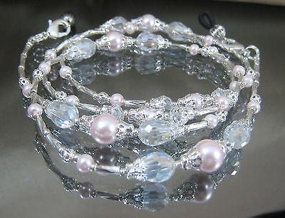Spectacle Glasses Eyewear Beaded Chain Holder– Silver Pink Pearl & Crystal(S360)