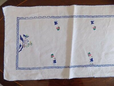 Vintage LINEN TABLE RUNNER 42 x 11 inches, Cross-stitch