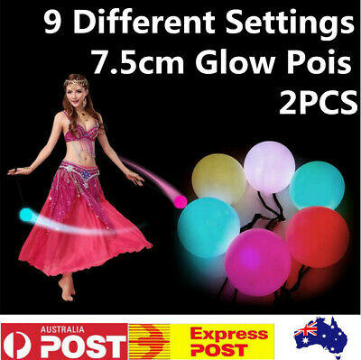 2 X LED Glow POI Thrown Balls Light up For Dance Hand Props Stage Performance