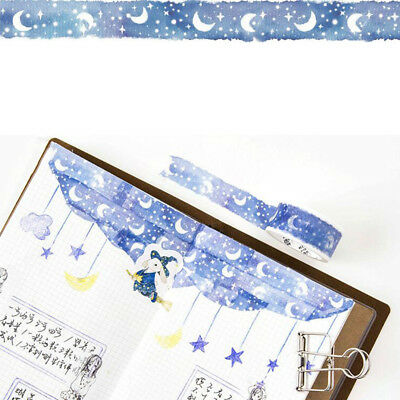1 Roll Blue Moon Star Washi Tapes Stationery Sticker Scrapbooking Decor Supplies