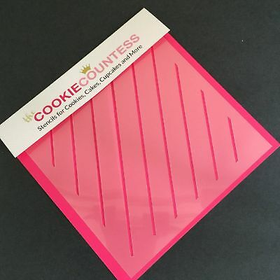 The Cookie Countess DIAGONAL THIN STRIPE Stencil - biscuit, cake, craft