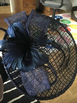 Navy Blue Headband Fascinator Hat Style With Feather Detail