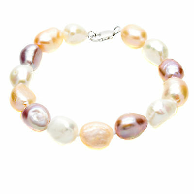 Baroque Pearl Bracelet Sterling Silver Large Natural Cultured Freshwater Pearls