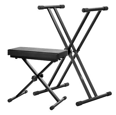 Adjustable Double Braced Deluxe X-Frame Keyboard Stand Piano Bench Stool New