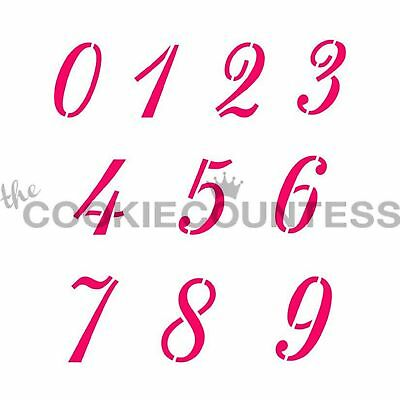 The Cookie Countess SCRIPT NUMBERS Stencil - biscuit, cake, craft, number