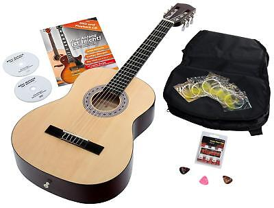 7/8 Classical Acoustic Concert Guitar Set Bag 6 Strings Picks Pitch Pipe Natural