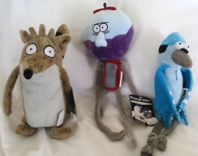 official set of 3 regular show softys 11 to 15 inch rigby, benson, & mordecai