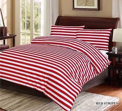 RED WHITE STRIPE QUEEN or KING SIZE 100% COTTON QUILT DOONA DUVET COVER SET NEW