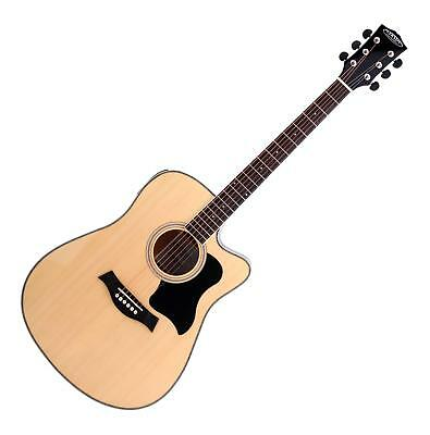 Acoustic Western Guitar Eq Dreadnought Style 4/4 Folk Music 20 Frets Natural