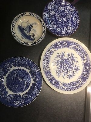 Selection Of Antique Blue Plates