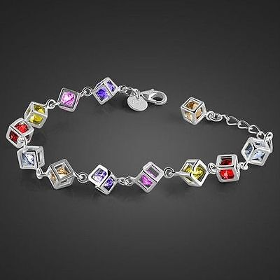 Hot Solid 925 Sterling Silver jewellery Multicolor Chain Bracelet Bangle Gift