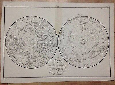 WORLD MAP WITH POLAR REGIONS XIXe CENTURY ANTIQUE COPPER ENGRAVED MAP
