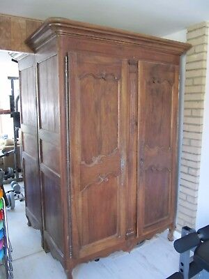 Antique double door French fruit wood Armoire with iron hinges