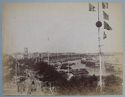 Antique c.1880 Chinese Albumen Photograph - Shanghai China - Street and Harbour