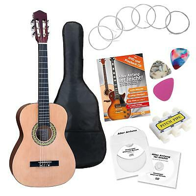Classic Acoustic Guitar Starter Set Plectrums Pitch Pipe Gigbag 6 Nylon Strings