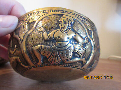 Vintage Pair Brass Bowls Depicting 5 Different Indian Deities