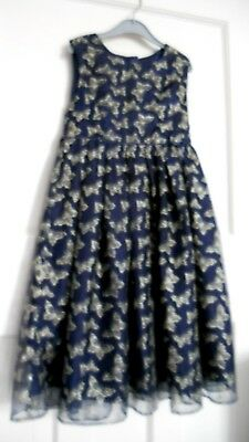 Girls Monsoon Party Dress Age 9Yrs  Dark Blue With Gold Butterflies  Ex Cond