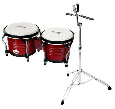 Bongos Latin Hand Drum Percussion Support Black Hardware Wine Red Professional