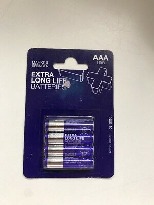 Marks And Spencer AAA Batteries x 4 - Date Expired
