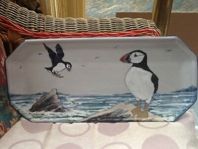 puffin display plate free hand painted highland stoneware Scotland