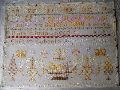 Antique sampler from Clifton School, Newark Notts made by Rosa Lintin aged 13.