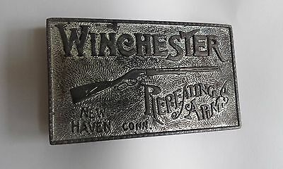 Winchester Repeating Arms Vintage Belt Buckle Silver tone 10 x 5.5cm New Haven