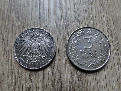 2 Mark 1901 and 1925 3 Reich Mark silver coins Germany