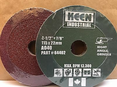 "Box of 25, 40 Grit 4-1/2"" x 7/8"" Resin Fibre Sanding Discs KEEN ABRASIVES 64409"