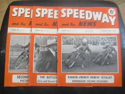 1950 Collection (2) Of 3  Of The  Speedway And Ice News  Magazine