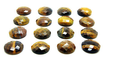 1x Natural Semiprecious Faceted Tiger Eye Round Cabochon Gemstone 8mm Size New