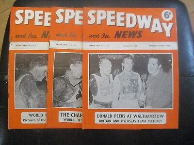 1950 Collection (6) Of 3  Of The  Speedway And Ice News  Magazine