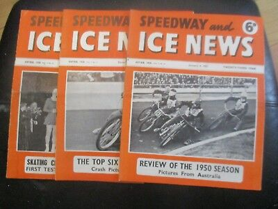 1950 Collection (9) Of 3  Of The  Speedway And Ice News  Magazine
