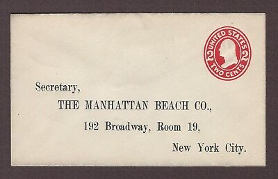 mjstampshobby 1907 US Famous Manhattan Beach Co Vintage Cover Used (Lot4882)