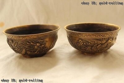 "3""Chinese Folk Bronze carved excellent Lucky Dragon phoenix bowl Pair"