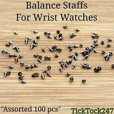 100x BALANCE STAFFS vintage watch spares/parts mixed lot watchmaker repair staff