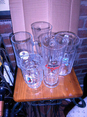 5 German Beer Glasses -Binding, Hacker -Pshorr,st. Pauli,krombacher,bitburger