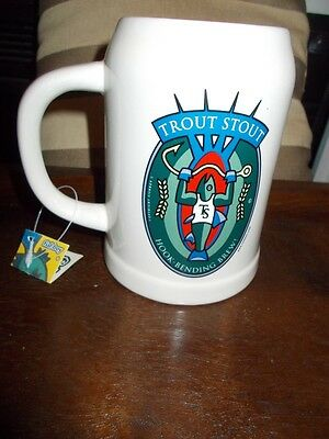 "Brand New ""trout Stout"" Ceramic Beer Stein - Tennessee - Smokey Mountain Brew"
