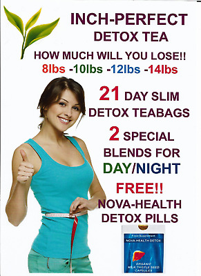 Inch-Perfect 21 Day Detox  Weight Loss, Slimming, Diet Tea. Day & Night Teabags