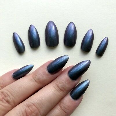 Hand Painted False Nails Stiletto -ALL SHAPES Purple Blue Grey Unicorn Chameleon
