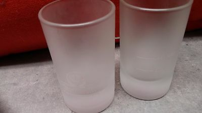 Set Of Two (2) Large Jagermeister White Frosted Shot Glasses