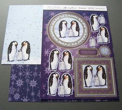 """Hunkydory - White Christmas """"pick Up A Penguin"""" Topper Sheet + Backing Card"""
