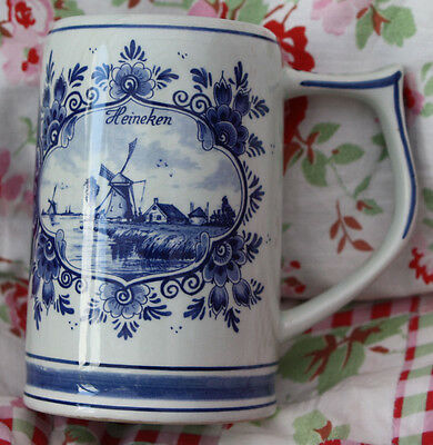 REDUCED - Heiniken Blue stein with Windmill and Boat Pattern – made in Holland