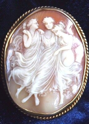 Exquisite  Hand Carved 19th Century Sea Shell Cameo In 14 Karat Gold
